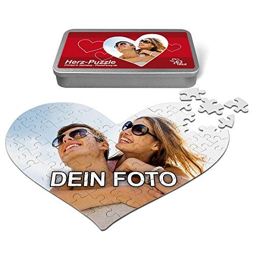 PhotoFancy® - Herz Liebes Puzzle mit Foto Bedrucken Lassen - Fotopuzzle in Herzform mit eigenem Bild Personalisieren (63 Teile (A4))