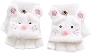 Haoohu Kids' Warm Lined Knit Flip Mittens Fingerless Gloves with Mitten Flap