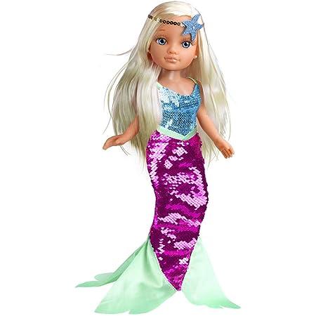 Nancy - Un Día de Sirena, Juguete Infantil muñeca con un bañador y un Vestido de Cola de Sirena de Lentejuelas Reversibles Que Cambia de Color, Sumergible en el Agua, Famosa (700014762)