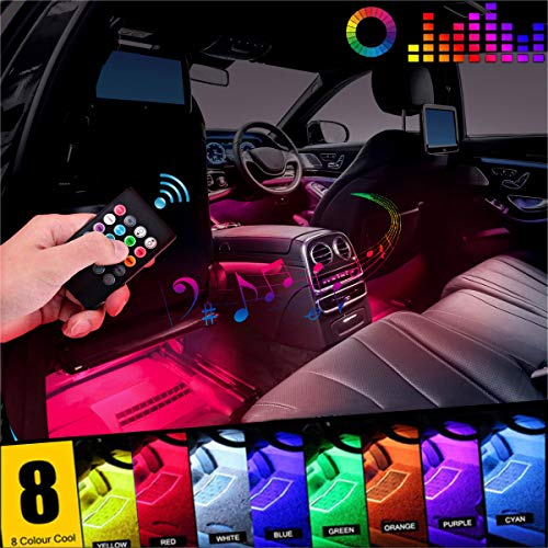 EJ's SUPER CAR Car LED Strip Light, 4pcs 36 LED DC 12V Multicolor Music Car Interior Light LED Under Dash Lighting Kit with Sound Active Function and Wireless Remote Control, Car Charger Included