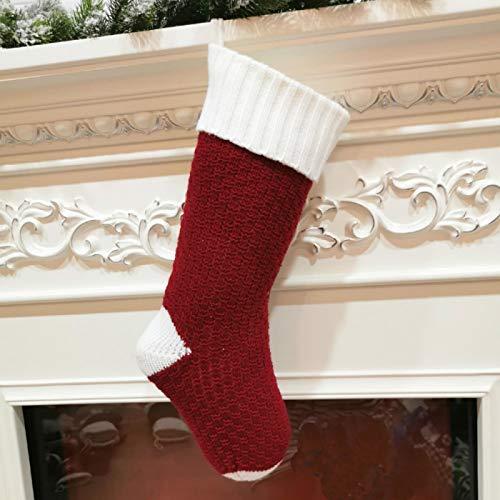 langchao Adornos navideños Adornos de Hilo de Punto Bolsa de Regalo Flor de Hoja torcida Caramelo Grande Calcetín navideño