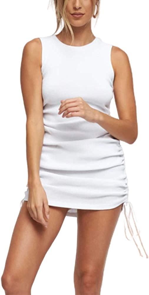 Seyurigaoka Women's Casual Drawstring Tank Ruched Side Bodycon Mini Dress Slim Sleeveless Party Dress