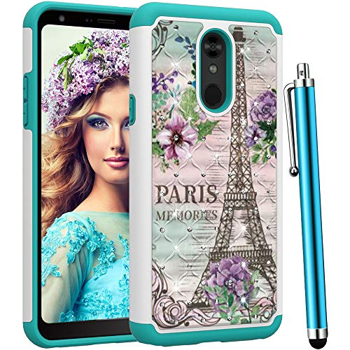 CAIYUNL for LG Stylo 5 Case,LG Stylo 5 Phone Case, Shockproof Hybrid Dual Layer Rugged Women Girls Armor Heavy Duty Glitter Bling Studded Rhinestone Protective Cover for LG Stylo -Iron Tower/Flower