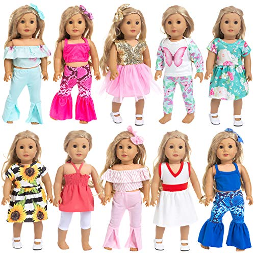 Ecore Fun 10 Sets 18 Inch Doll Clothes Outfits Pajamas Dresses Hair Clips for American 18 Inch Girl Doll, Our Generation Doll, My Life Doll
