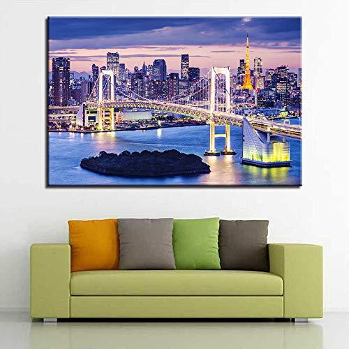 Leinwanddruck Hd Leinwand Gemälde Regenbogen Brücke Tokio Nacht Landschaft Wandkunst Poster Für Wohnzimmer Wohnkultur Bilder 50Cmx70Cm