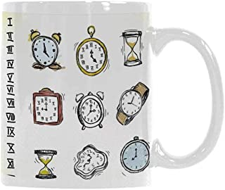 Clock Decor Trend Mug,A Collection of Vintage Watches and Doodled Clocks Hand Drawn Illustration for Office Travel,3