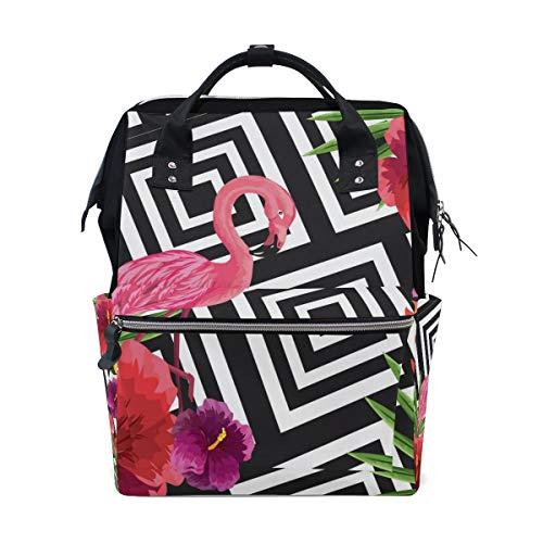 TIZORAX Mochila de pañales de flores de flamenco tropical, gran capacidad, bolsa de pañales multifunción, mochila de viaje para el cuidado del bebé
