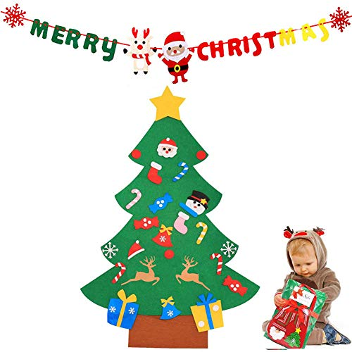 Cozywind DIY Arbol de Navidad de Fieltro con Banners Navidad Adornos Desmontables Año Nuevo Regalo para Niños (muñeco de Nieve)