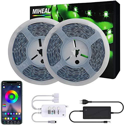 Miwatt 2X20M RGB led streifen,Mobile APP Bluetooth-Controller, Musikmodus, Mikrofonmodus,Kompatibel mit Alexa, Google led strip [Energieklasse A++]