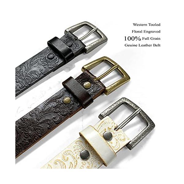 Floral Embossed Full Grain Genuine Leather Belt 2
