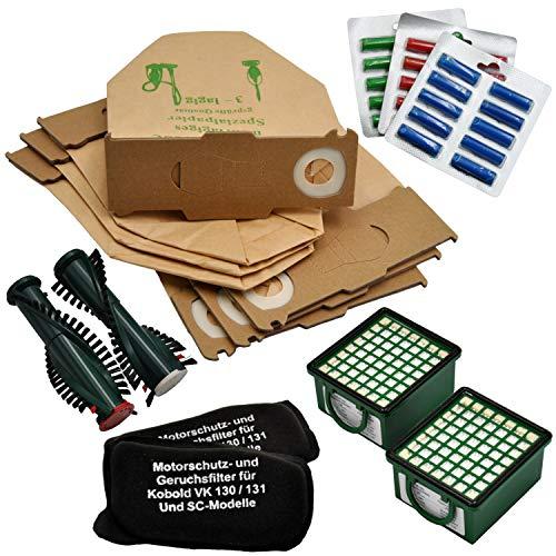 Super Spar Set 30 Staubsaugerbeutel geeignet für Vorwerk VK 130 131 131SC 2 Geruchsfilter 2 Hygienefeinfilter 30 Duftstäbchen 1 Paar Ersatzbürsten geeignet EB 350