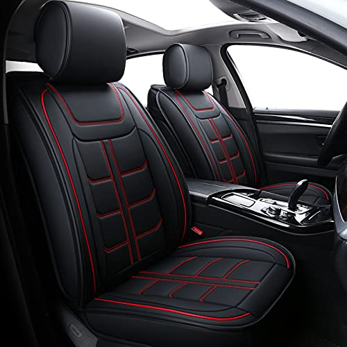Coverado Car Seat Covers, Waterproof Faux Leather Line Pattern Automotive Vehicle Cushion Protector, Universal Fit for Most Cars Sedan SUV Pickup Truck(Full Set, Red)