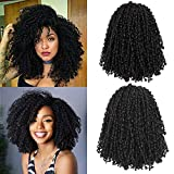 NOBLE GIRL 8 Packs Passion Twist Crochet Hair Short Marlybob Crochet Hair 8 Inch Kinky Curly Crochet Braids Synthetic Braiding Hair Extensions for Black Women (Black)