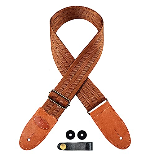 Guitar Strap for Acoustic, Electric Guitars with Suede Leather Ends, Includes 2...