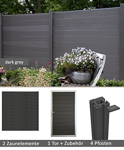terrasso WPC/BPC Sichtschutzzaun Dark Grey 2 Zäune, 1 Torelement inkl. 4 Pfosten Sichtschutz Gartenzaun