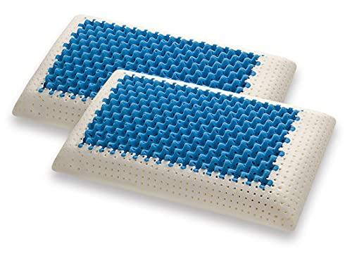 Marcapiuma – Par de Cojines de Memory – Blue Air Massage – Ultra Transpirable Efecto Masaje Funda de protección 100% algodón – Almohada Memory Ortopédico Dispositivo médico CE – Fabricado en Italia