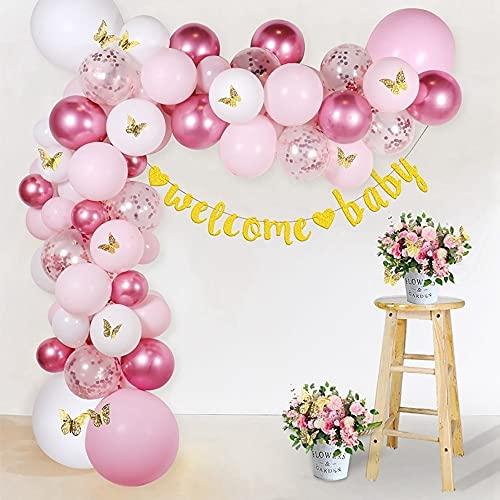 LIZHIOO Galloon Garland Kit, 136pcs Pink Butterfly Globon Ballons Kit De Garland para Baby Shower Chica Fiesta De Cumpleaños Decoraciones De Fiesta
