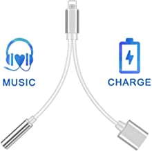 (Apple MFi Certified) Lightning to 3.5 mm Headphone Jack Adapter, Charger for iPhone 2 in 1 Converter Splitter Cable,Aux Audio Car Charger Adaptor to Music Headphone Compatible Support for iOS 12