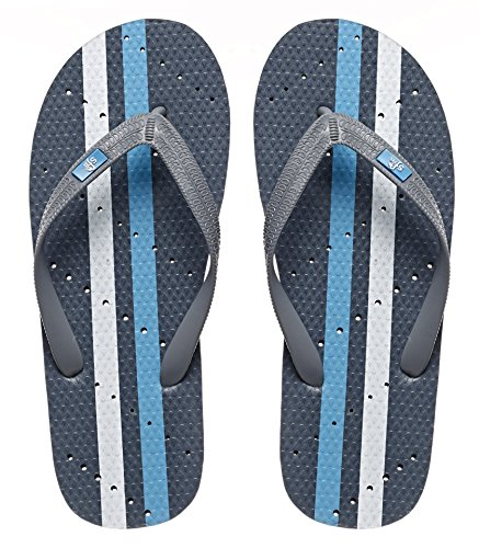Showaflops Mens' Antimicrobial Shower & Water Sandals for Pool, Beach, Dorm and Gym - Grey/Turquoise 13/14