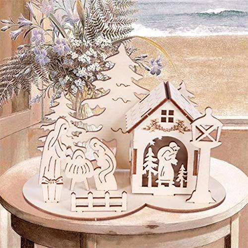 Anliyou Holzdeko Stereodeko Weihnachtstischdeko mit Weihnachtsmann Weihanchtsbaum und Puppe Schnitzerei Weihnachtsdeko Weihnachtsdekoration Adventsdeko