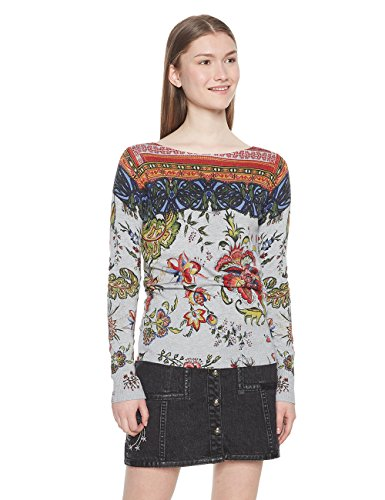 Desigual Jers_Chintz suéter, (Gris Vigore Claro 2042), Large para Mujer
