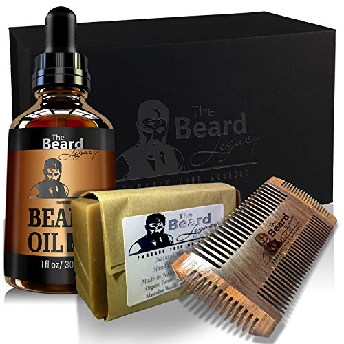 BEARD WOODEN COMB KIT + Beard Oil + Luxury Gift Box, Made in USA + Pocket Comb 4 Sides to Beard Mustache Goatee Grooming Growth, Unscented Conditioner, Helps Itchiness and Dandruff Jojoba Argan Oil.