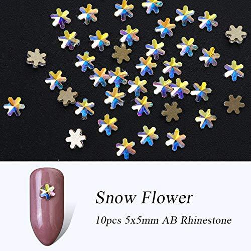 Gouen Cristal Nail Gems Strass pour Nail Art Verre Roue Fleur Bijoux Diamant Nail Pierre Décoration Manucure, 10 pcs Neige 5x5mm