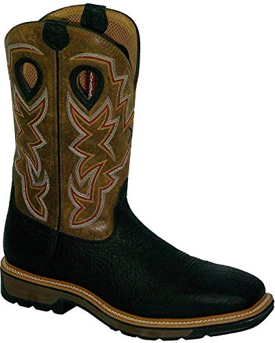 Twisted X Mens Black Leather Steel Toe Lite Weight Cowboy Work Boots 12D
