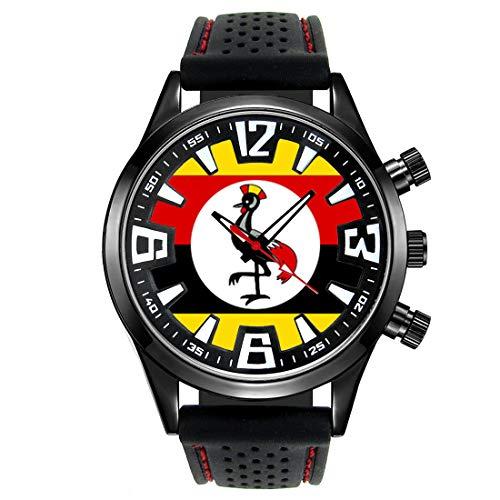 ウガンダの旗 - メンズブラックゼリーシリコン腕時計