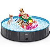 lunaoo Foldable Dog Pet Pool Portable Kiddie Pool for Kids, PVC Bathing Tub, Outdoor Swimming Pool for Large Small Dogs