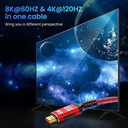 HDMI Kabel 4K 120Hz + 8K 60 Hz   HDMI 2.1 Kabel 2M-Snowkids 8K@60HZ&4K@120HZ HDMI 2.1 Ethernet Kabel 7680P mit eARC Dolby Vision 48Gbps Dynamischer HDR HDCP 2.3 kompatible mit PS5, PS4, HDTV, PC - 2