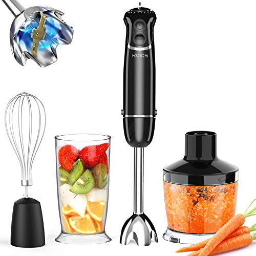 KOIOS 800W 4-in-1 Immersion Hand Blender, Titanium Plated, 12-Speed Multifunctional Ultra-Stick, Turbo Mode, BPA-Free Food Chopper/Egg Whisk/Beaker Detachable