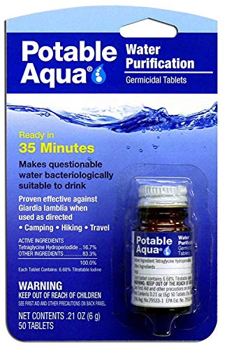 Potable Aqua Water Purification Germicidal Tablets - for Hiking, Camping, and Emergency Drinking Water (5.Pack)