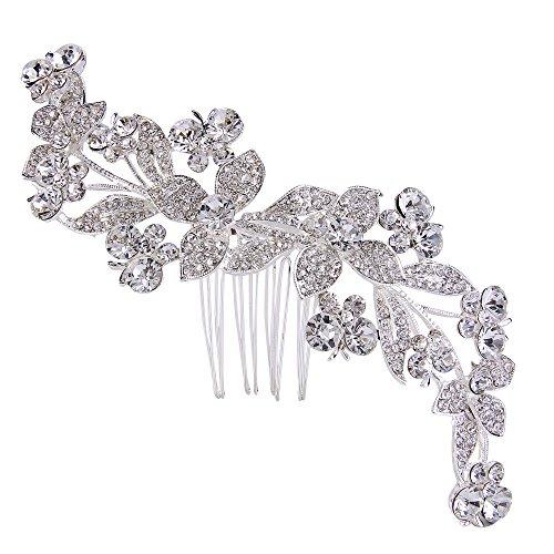 EVER FAITH österreichischen Kristall wunderschöne Schmetterling Blume Blätter Haare Side Kamm Klar Silber-Ton