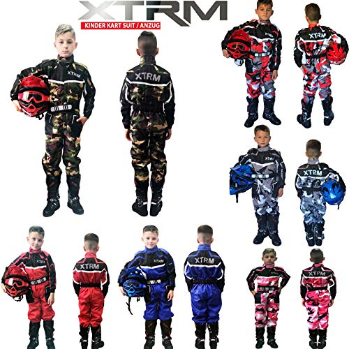 Kinder Kart Anzug XTRM Motorrad Quad Off-Road Suit Kinder Cross Sports Rennanzug für Motocross, Dirt Bike MX ATV PITBIKE Kart Motorroller Overall (Camo Grun,S)