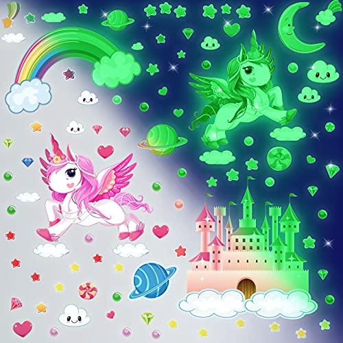 140pzs Unicornio Pegatinas Pared Decorativas Dormitorio Infantiles, Luminoso Pegatinas De Pared Unicornios,Pegatina Pared Luminosas Estrellas Fluorescentes Techo Decoración Niña Adhesivos
