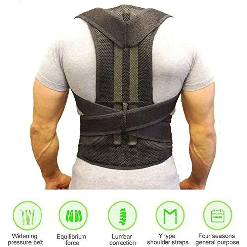 JINFAN Rückentrainer Posture Corrector Verstellbarer Rückenstütze Schulter-rücken-Taillen-gürtel Für Männer Und Frauen,Black-L
