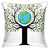 Funda de cojín con diseño de árbol de la Tierra, respetuoso con el medio ambiente, para salvar la vida del planeta, el clima y el arte del hogar, 45,7 x 45,7 cm