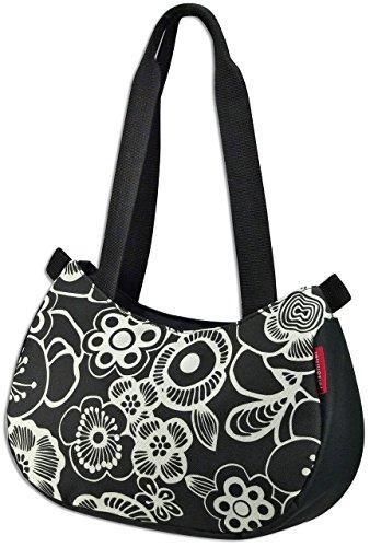KLICKfix Damen Farradtasche Stylebag Fleur Schwarz Lenkertasche, 11 x 31 x 22 cm