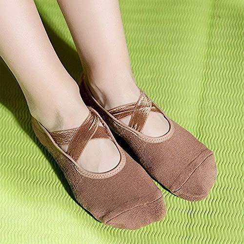 TYUXINSD Hermosa Calcetines de Entrenador para Mujer Anti Deslizamiento Algodón Calcetines de Yoga Damas Deportes Pilates Calcetines Mujer Dance Calcetines de algodón Ballet Calcetines (Color: Negro)