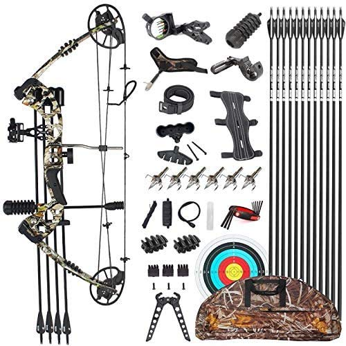 "Evercatch Compound Hunting Target Bow Kit | USA Gordon Limbs | Fully Adjustable 24.5-31"" Draw 30-70LB Pull 