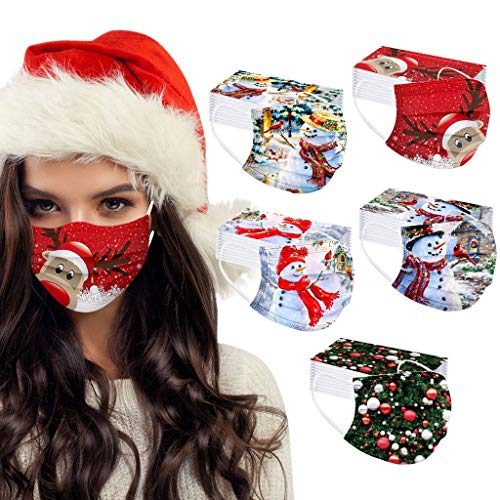 Christmas Printed Face Masks for Coronavịrus Protection, Colorful 50pcs 3-Layer Disposable Face Mask Safety Mask for Women And Men (G)
