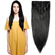 """s-noilite 10""""-22"""" Thick Double Weft 130-160g Grade 7A 100% Clip in Remy Human Hair Extensions Full Head 8 Piece (18""""-140g #1 Jet Black)"""