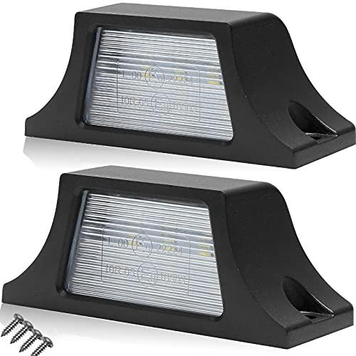 AGRISHOP 10-30V 2PCS Auto Luci Targa,2pcsX6 SMD LED Luci Per Targa Posteriore,Luce targa a 2 LED per Targa,Impermeabile per 12V Auto,Luce di Cortesia Luce Targa LED per Rimorchi Camper Camion Furgone