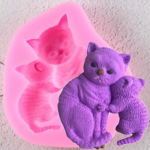 JLZK 3D Kätzchen Silikon Fondant Kuchenformen Schöne Katze Schokoladenform Für Cupcake Dekorieren Tier Backwerkzeuge Küche