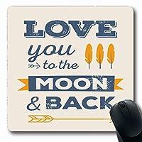 マウスパッドレトロラブユームーンバック引用ロマンチックバレンタイン抽象祝日矢印日羽リボン長方形形状滑り止めゲームマウスパッドラバー長方形マット