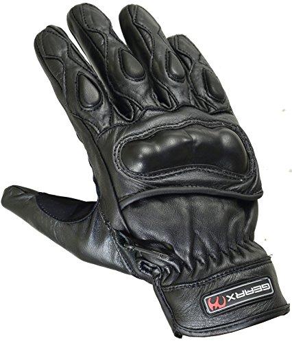 Knöchel gepolsterte Kurze Leder Motorrad Handschuhe, M