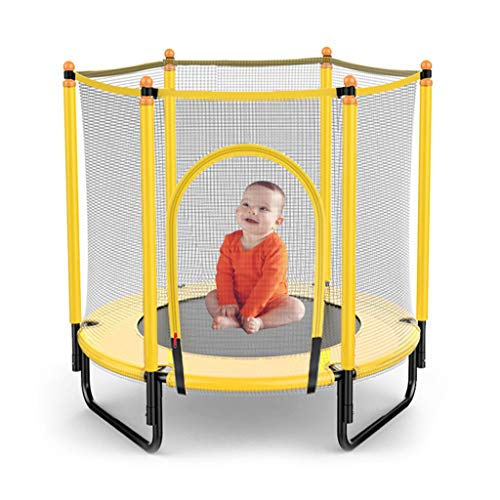LXXTI 4ft Trampoline with Safety Enclosure Net, Trampoline for Kids with Safety Enclosure Net, Built-In Zipper Heavy Duty Frame, for Kids Outdoor,Yellow