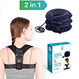 Unique Neck Stretcher Set – Posture Corrector and Neck Cervical Traction Device - Inflatable Support Pillow for Neck Pain Relief and Physical Therapy - Comfortable Posture Trainer for Back Support