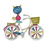 Left Girl Multicolor Emaille Katze Brosche Pins Geschenk Sitzen Auf Einkaufen Fahrrad Niedliche Tierabzeichen Neues Jahr Schmuck Zubehör-Blau